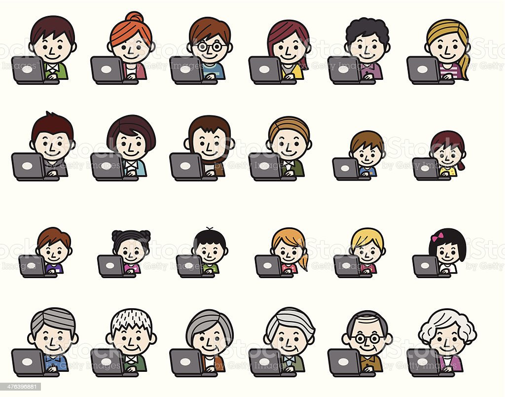 People icons - Laptop vector art illustration