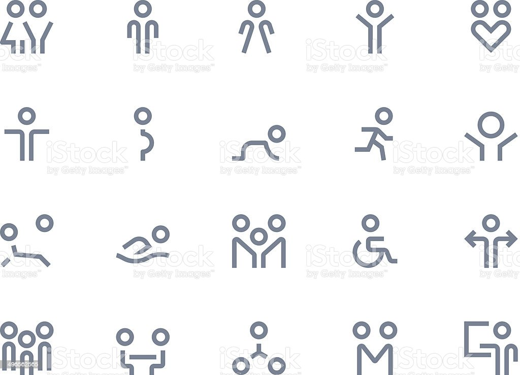 People icons. Line series vector art illustration