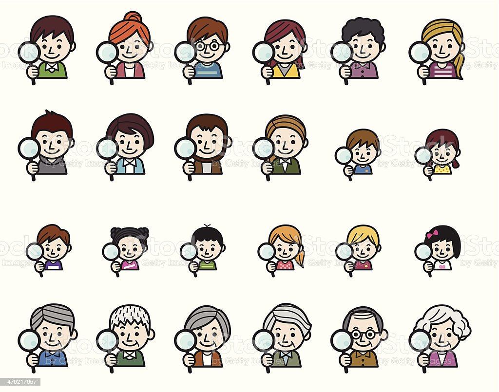 People icons - Magnifying glass vector art illustration