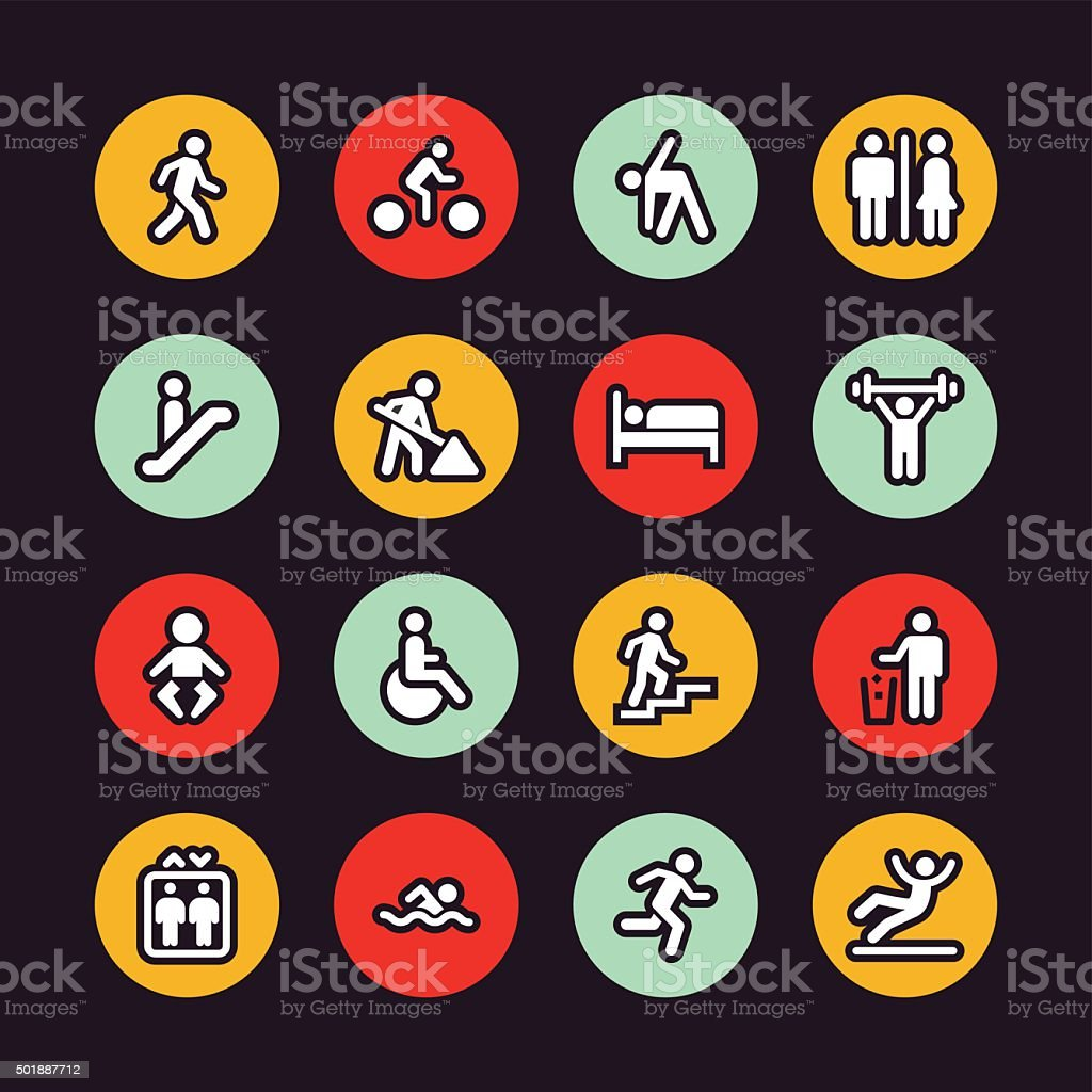 People icons - Regular Outline - Circle vector art illustration