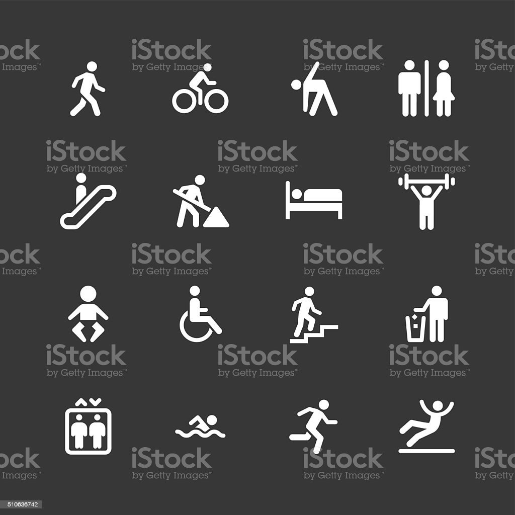 People icons - Regular - White Series vector art illustration