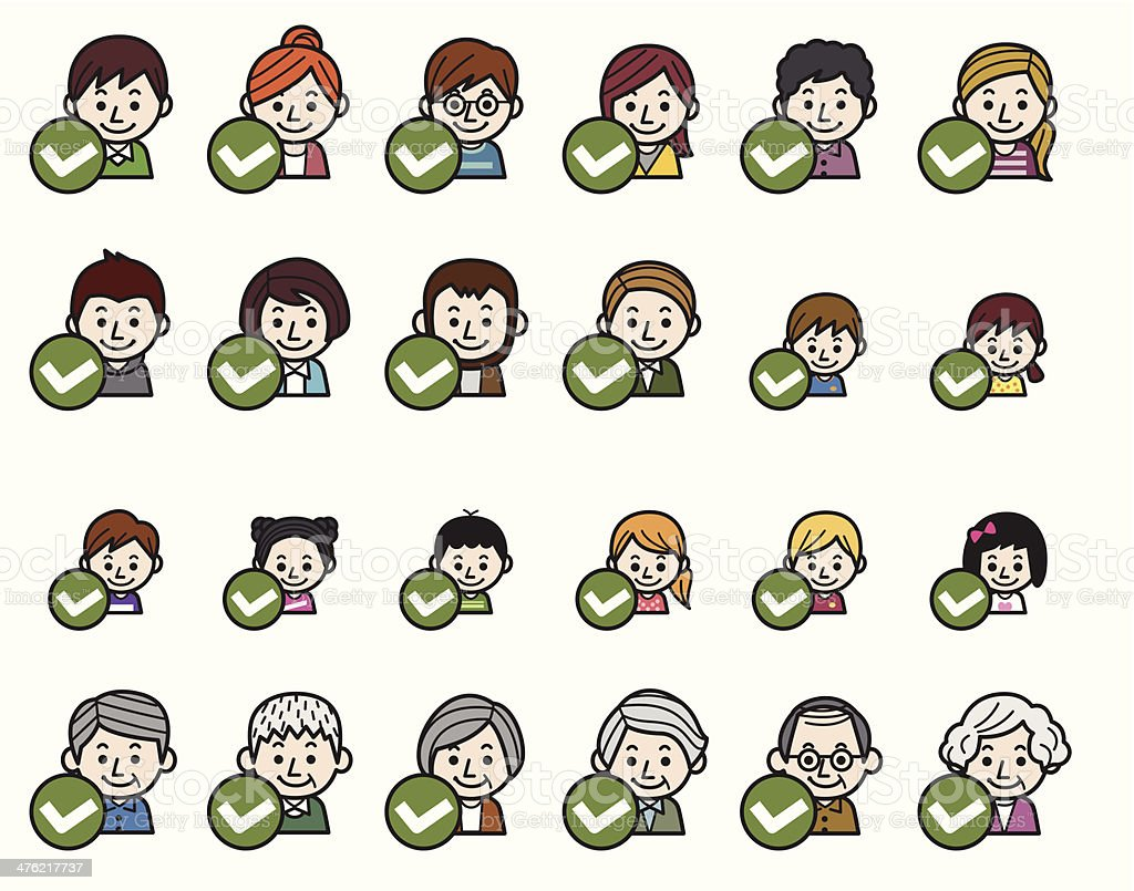 People icons - Right check mark royalty-free stock vector art