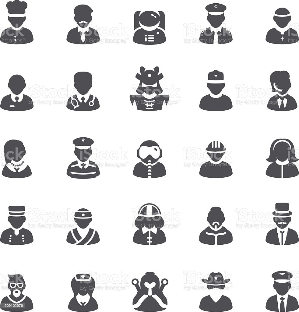 People icons set vector art illustration