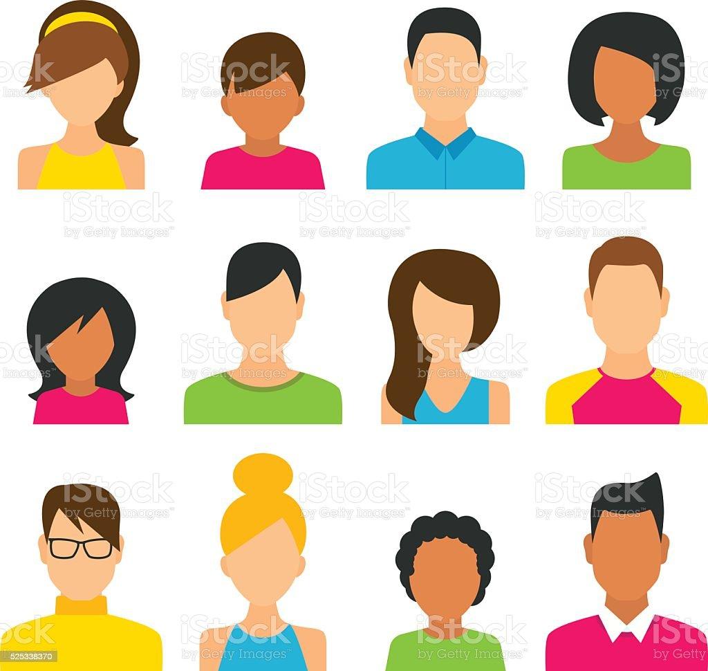 People Icons Set vector art illustration