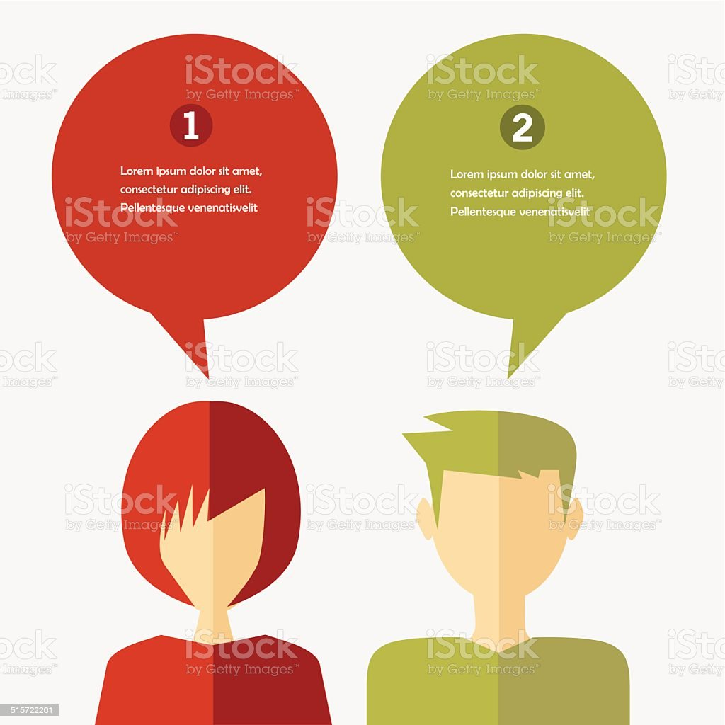 people icons with chat speech bubbles vector art illustration