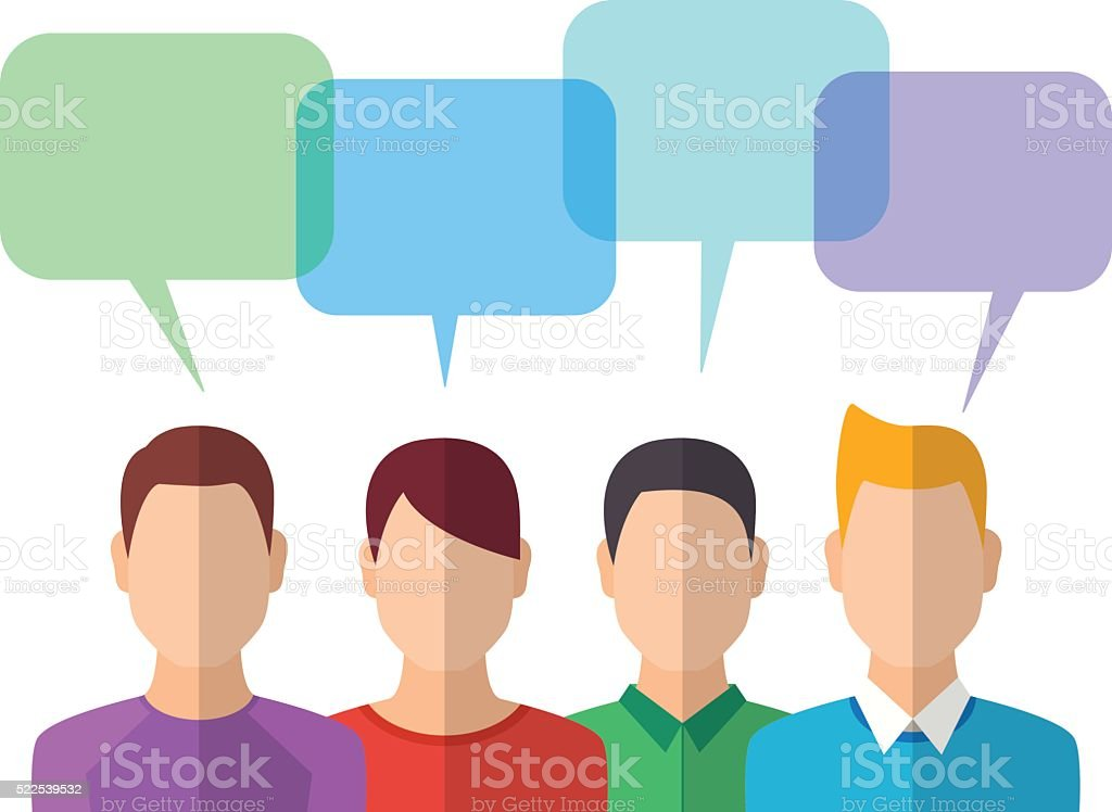 People Icons with Dialog Bubbles vector art illustration