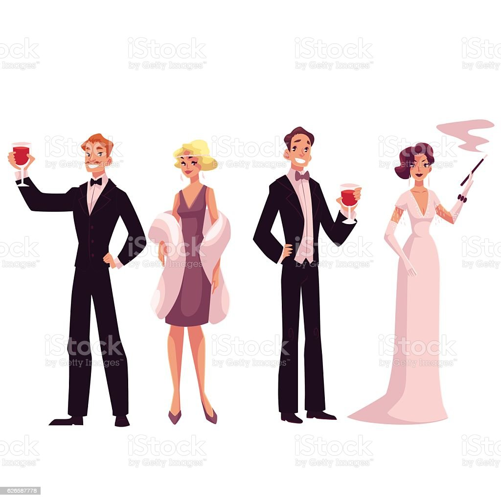 People in 1920s style cocktail dresses at a vintage party vector art illustration
