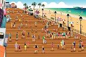 People in a Boardwalk Scene