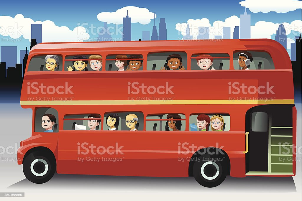 People in a bus royalty-free stock vector art