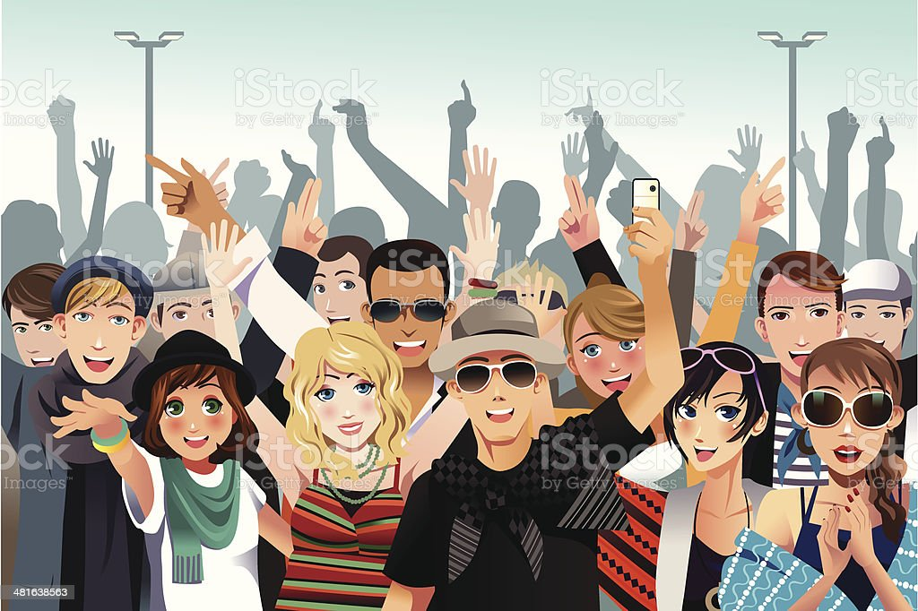 People in a concert royalty-free stock vector art