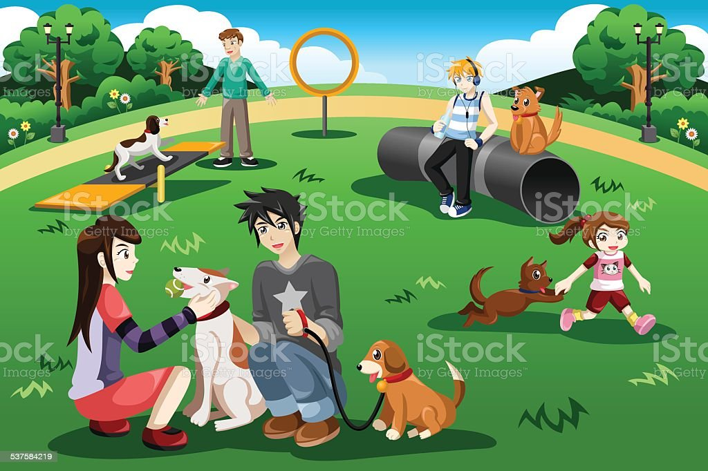 People in a dog park vector art illustration