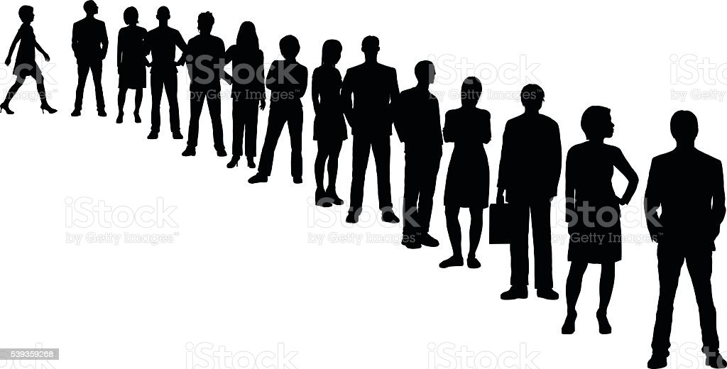People in a Line (All People Are Separate and Complete) vector art illustration