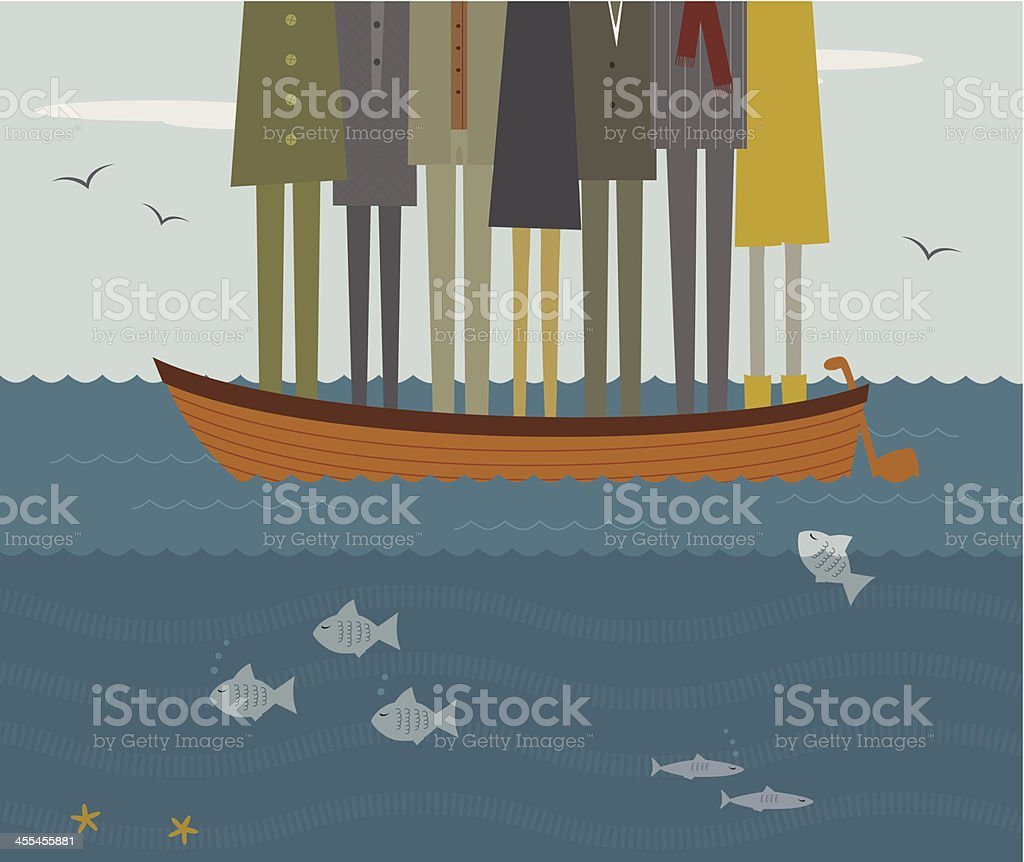 People in a small boat on the water vector art illustration