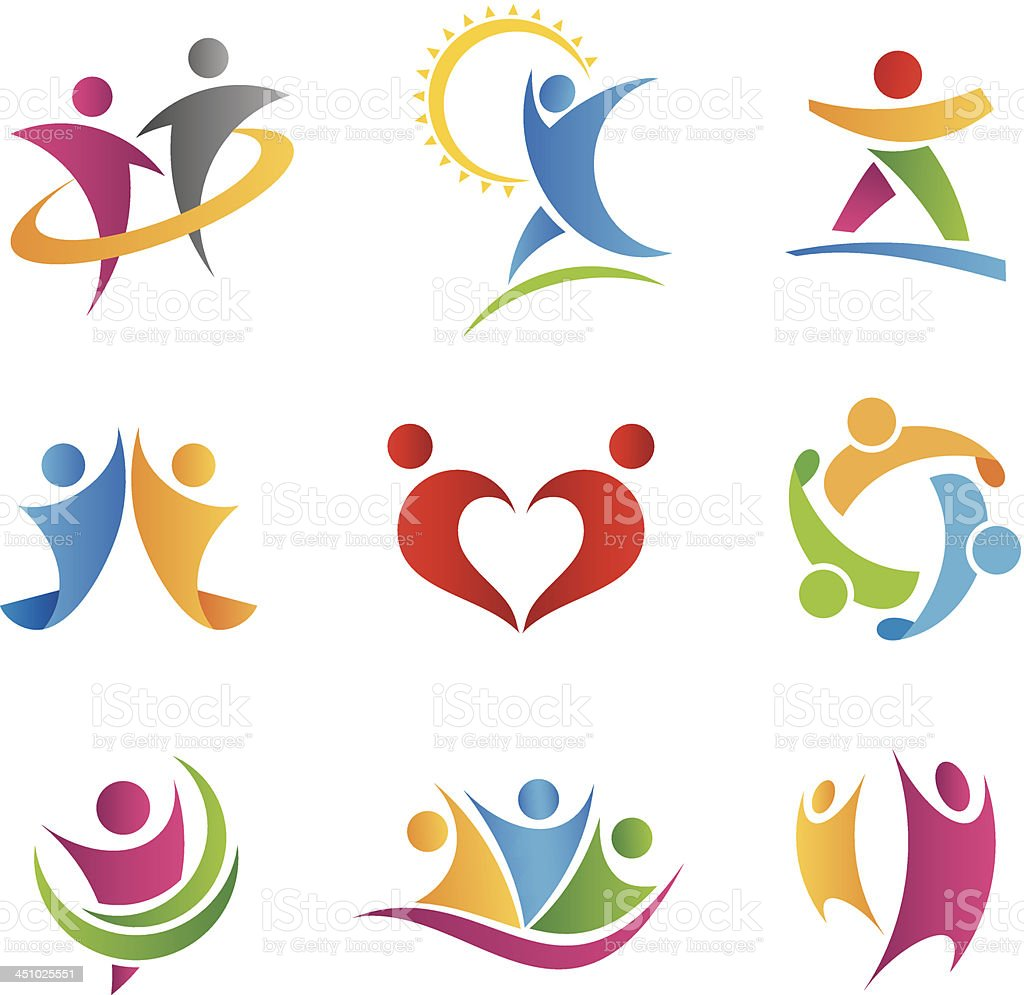 People in action logos an icons vector art illustration