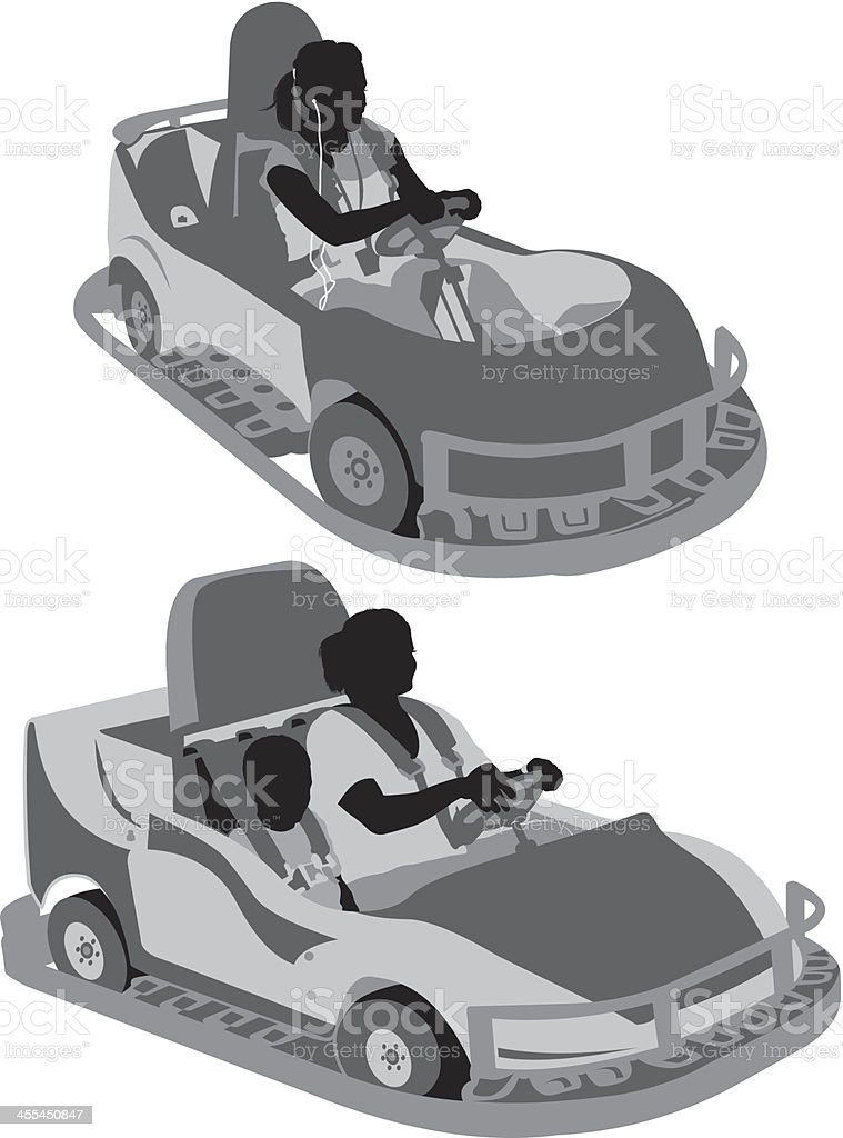 People in autoscooter vector art illustration