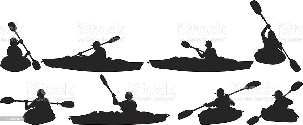 People in canoeing vector art illustration