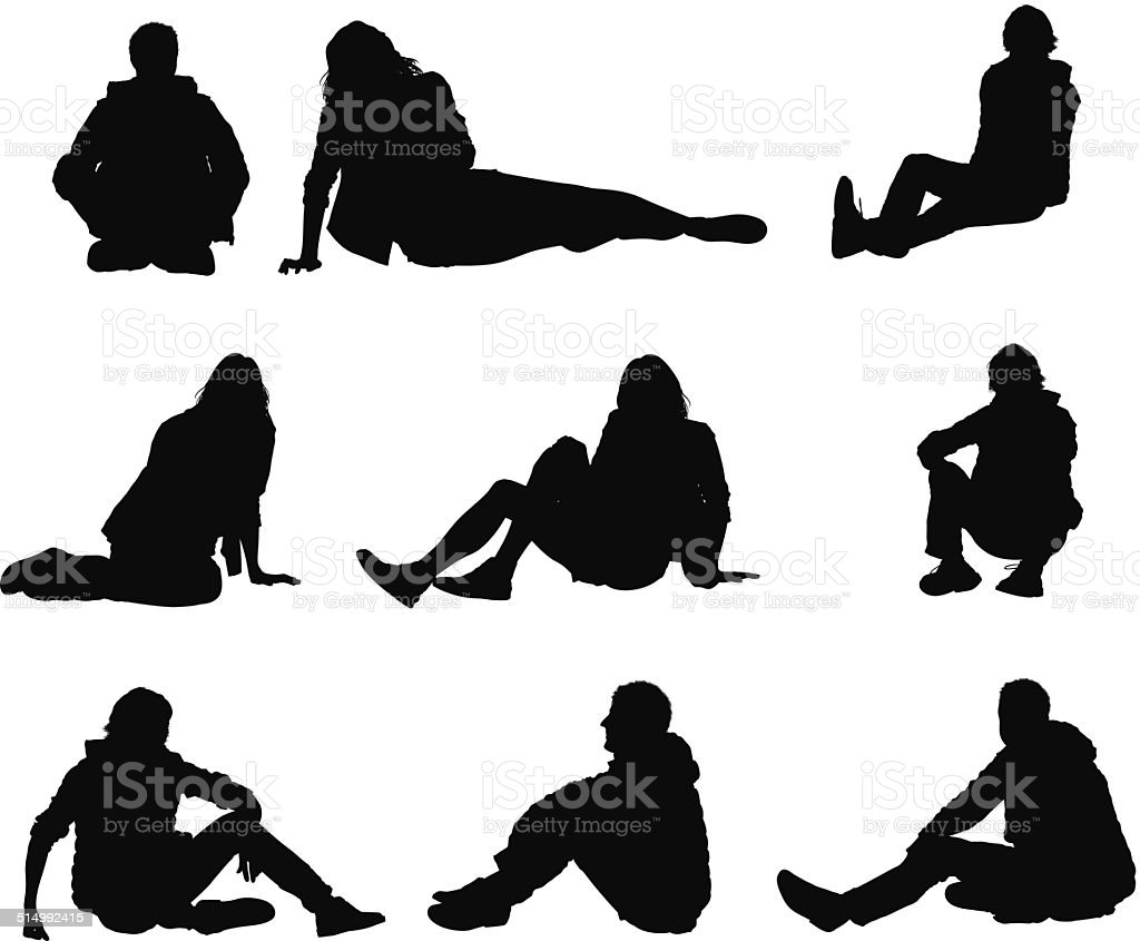 People in casual wear sitting on floor vector art illustration