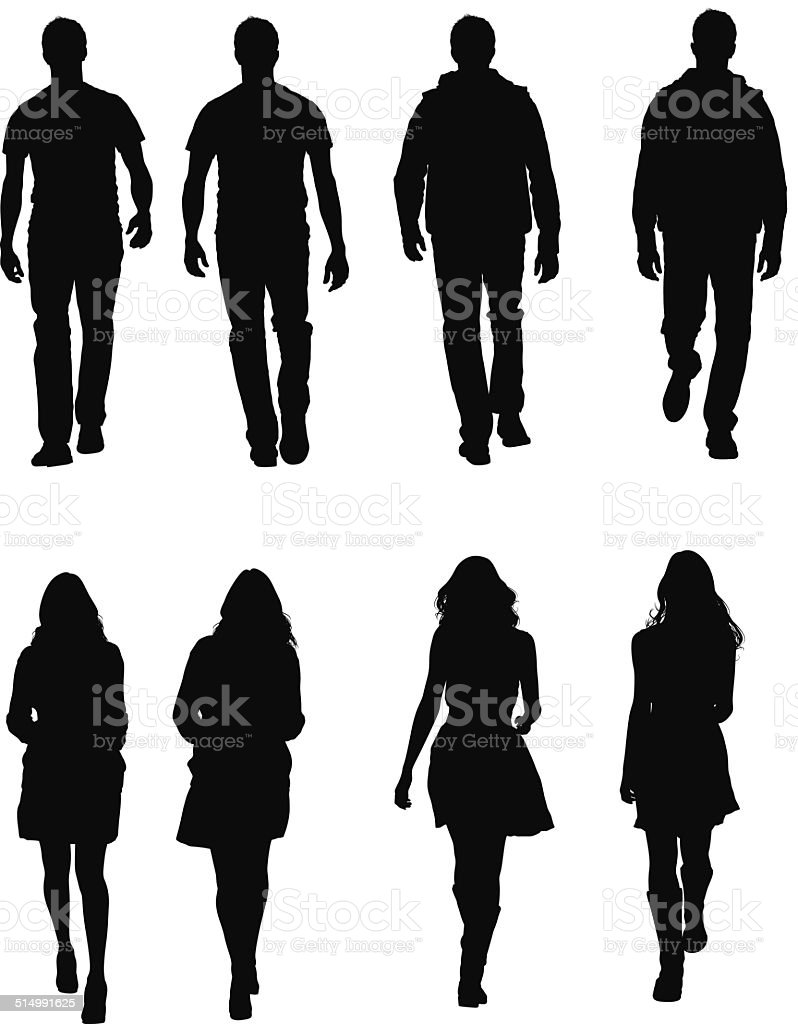 People in casual wear walking vector art illustration