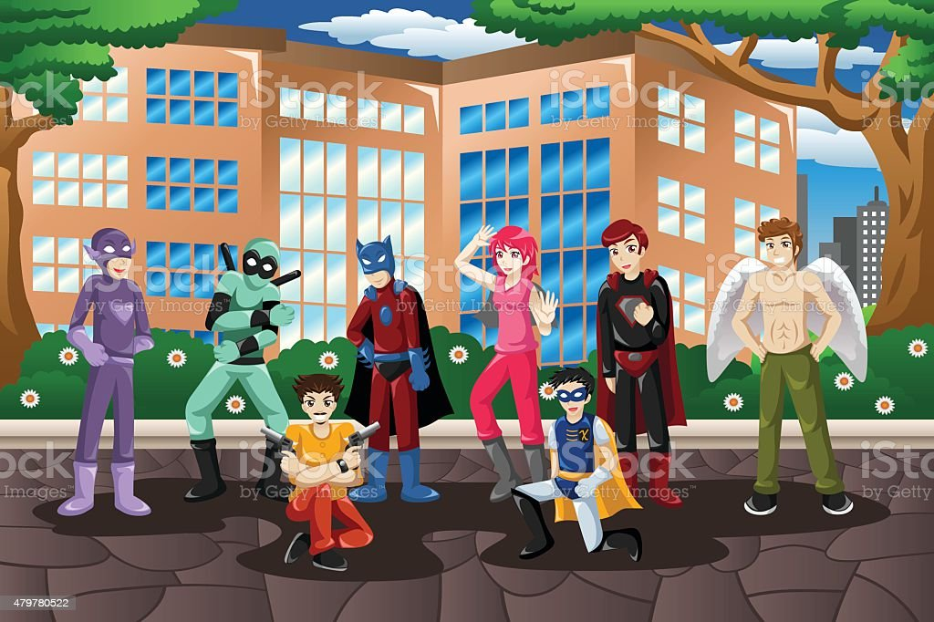 People in Cosplay Costume vector art illustration