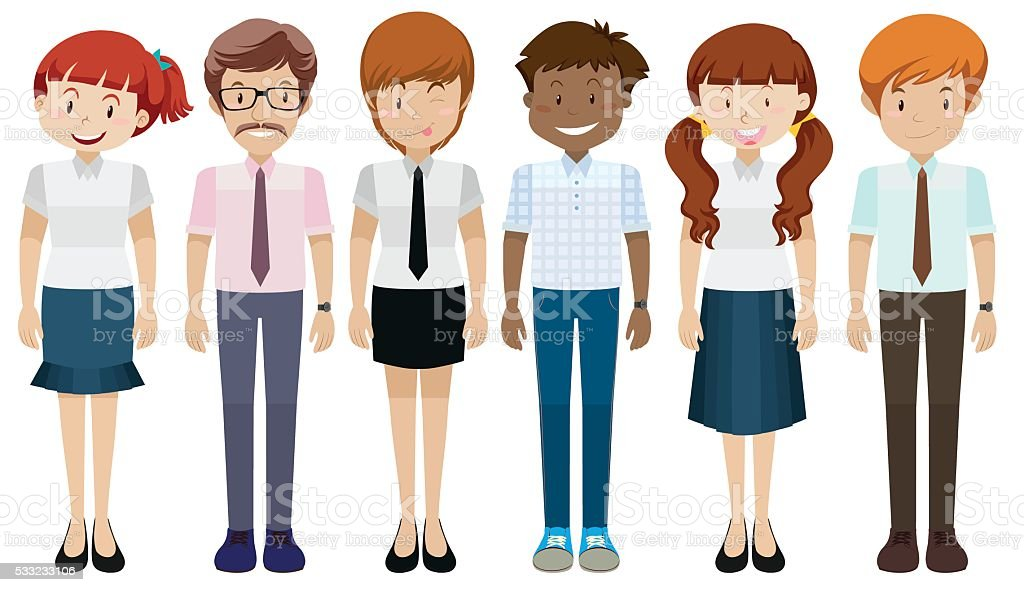 People in different costumes vector art illustration