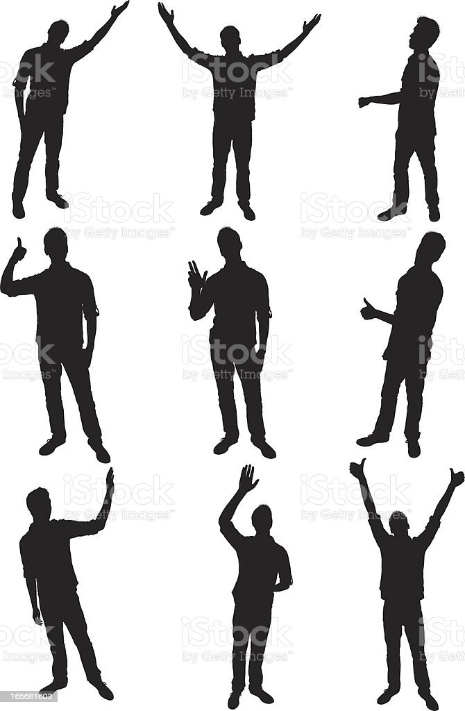 People in different poses royalty-free stock vector art