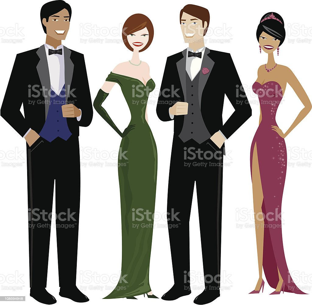 People in Evening Wear royalty-free stock vector art