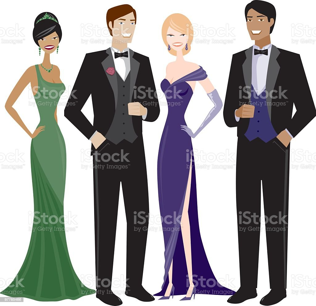 People in Evening Wear vector art illustration