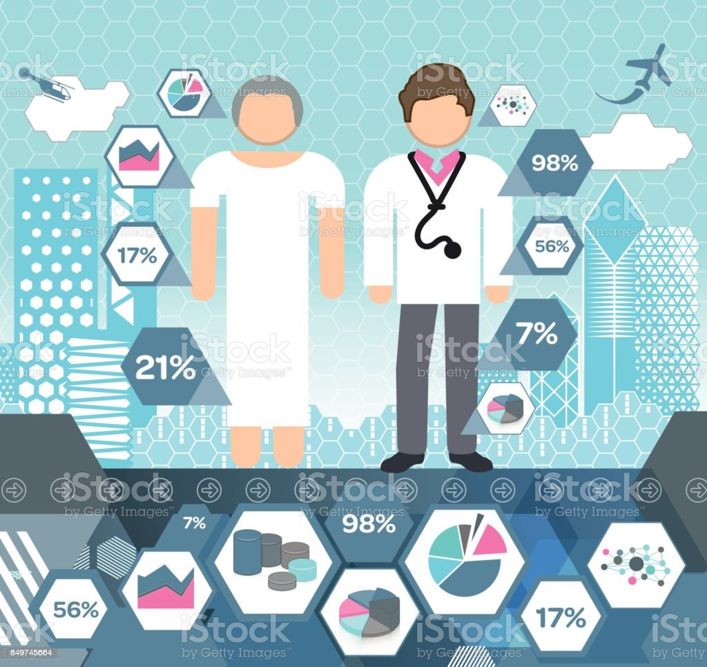 People in Hospital Situation vector art illustration