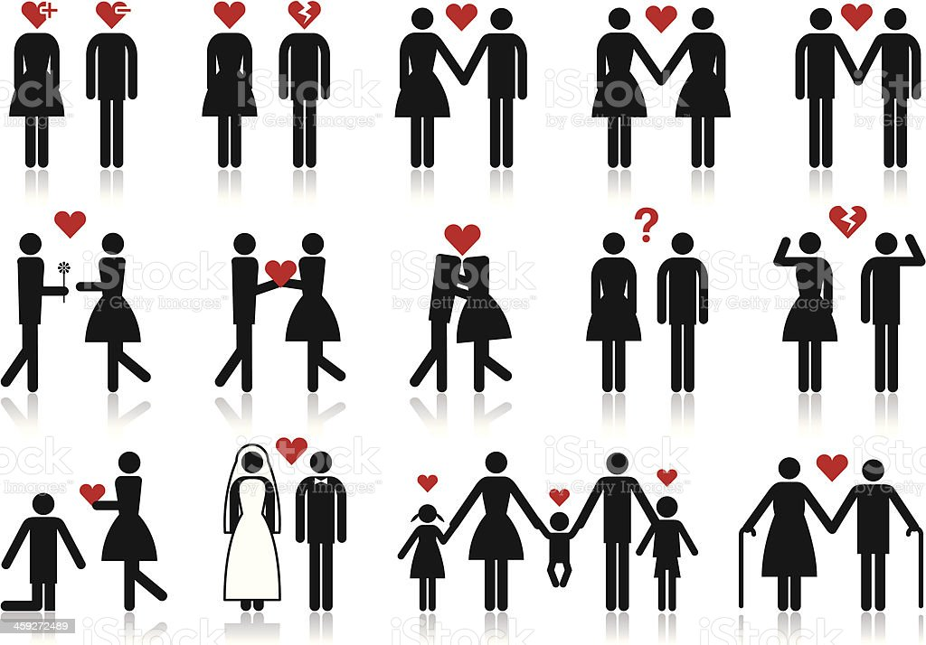people in love, vector icon set royalty-free stock vector art