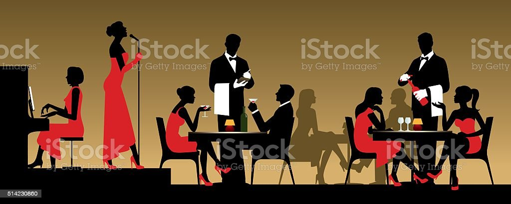 People in night club or restaurant sitting at a table vector art illustration