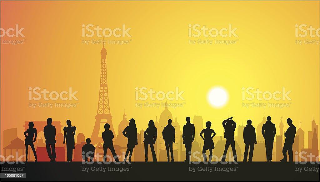 People in Paris royalty-free stock vector art