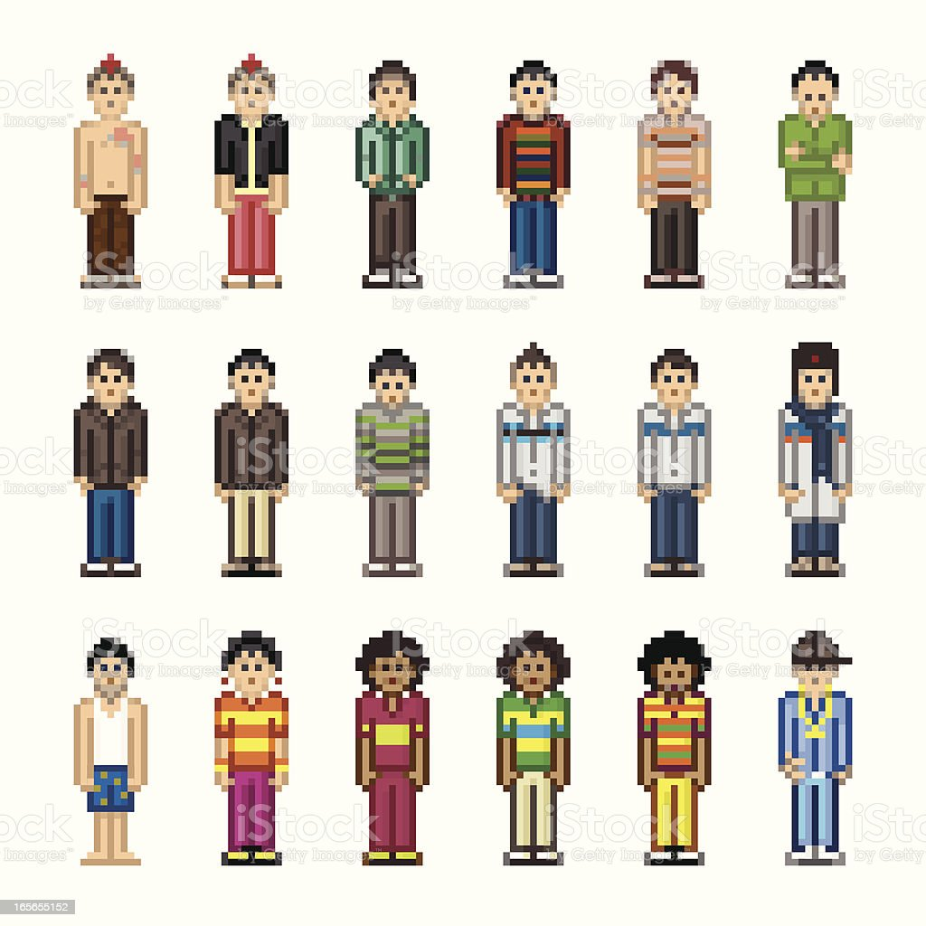 People in Pixel Art Style - Boy royalty-free stock vector art