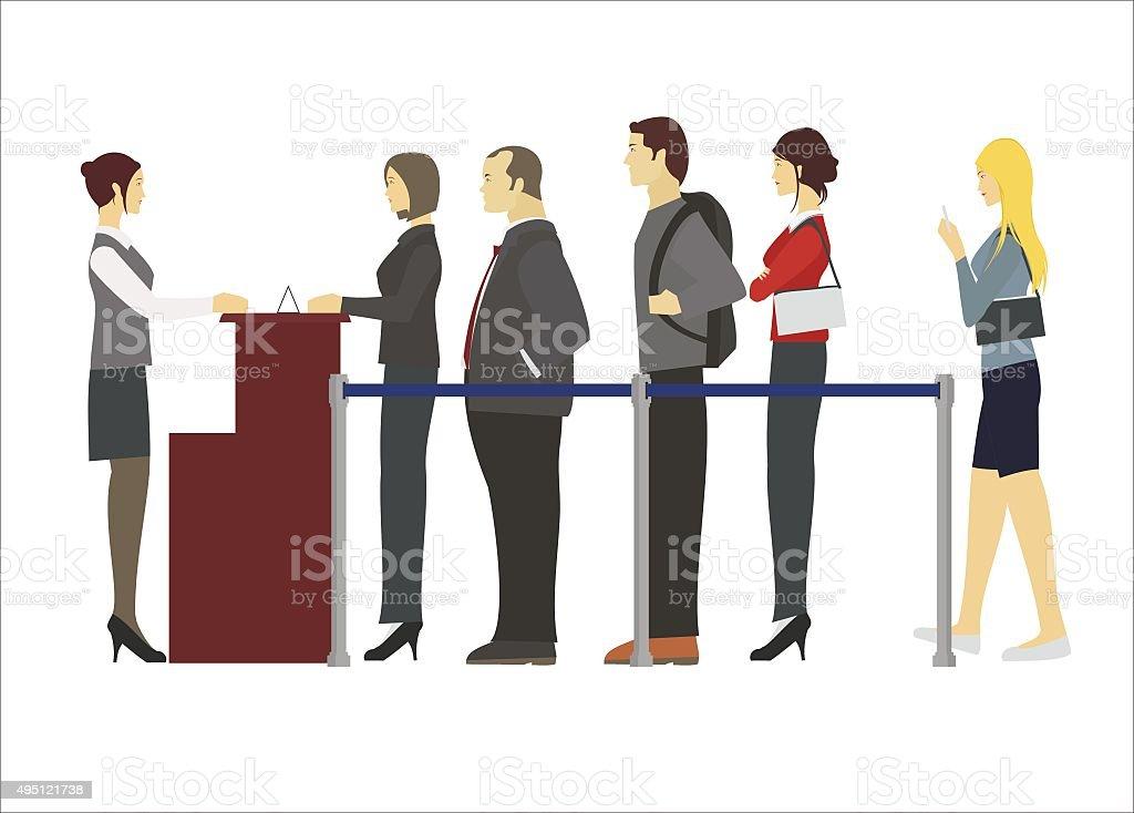 people in row vector art illustration