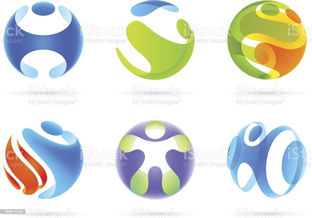 People in Sphere vector art illustration