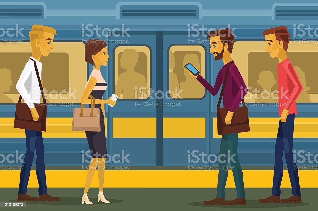 People in subway. Vector flat illustration vector art illustration