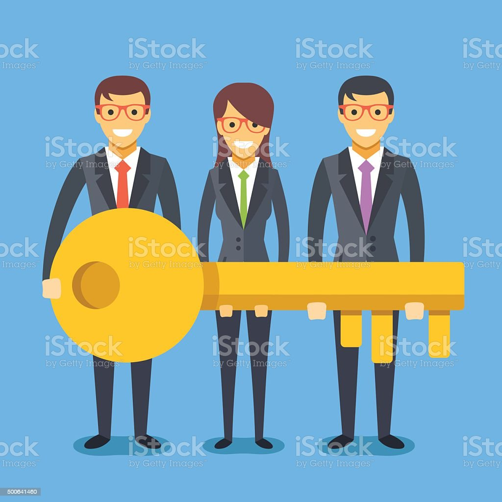 People in suit with key. Successful teamwork concept vector art illustration