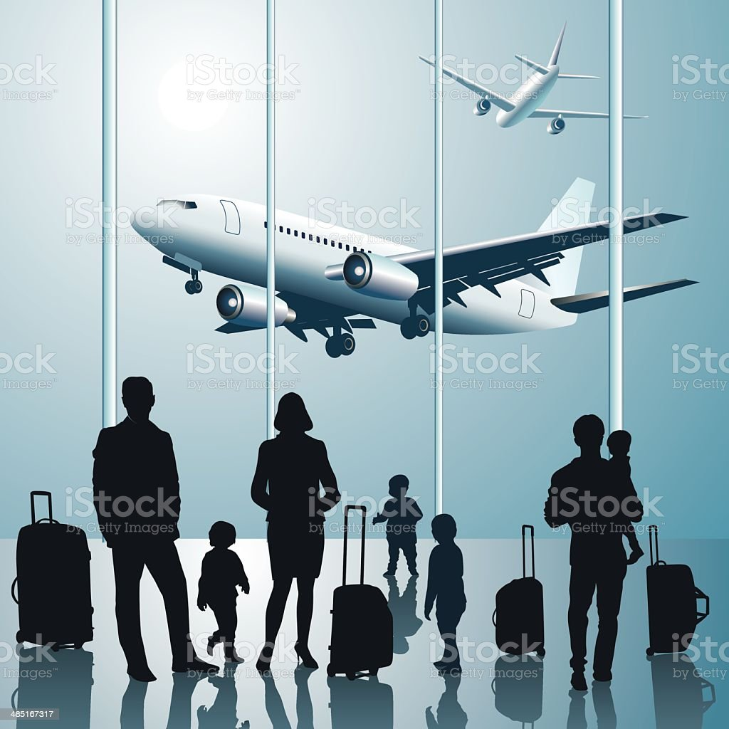 People in the Airport vector art illustration