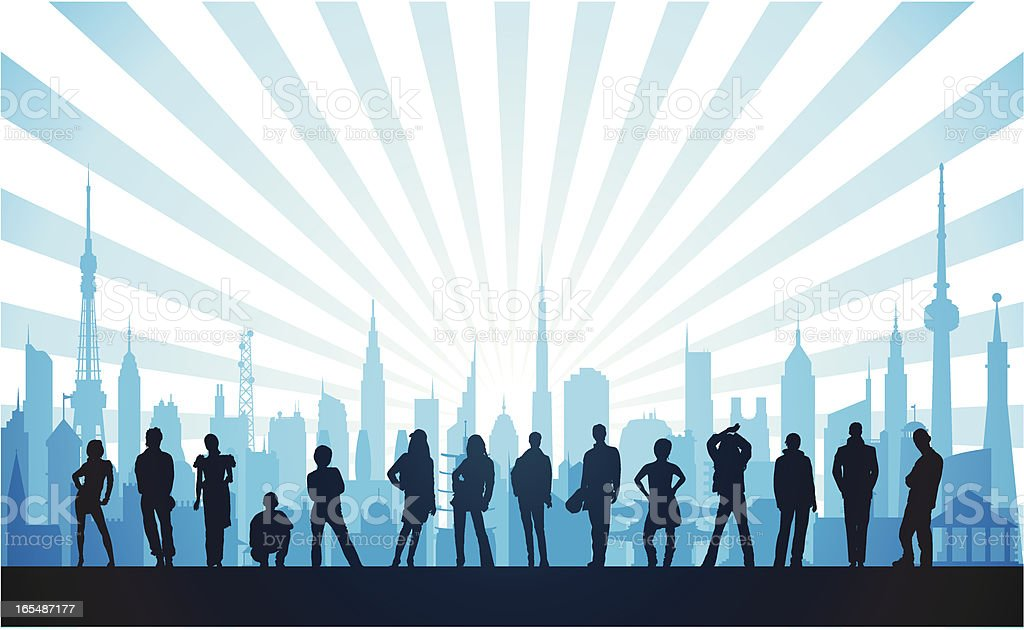 People in the Blue City royalty-free stock vector art