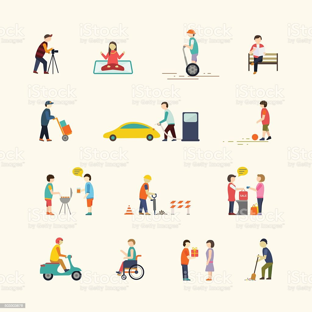 People in the city. Flat icons. vector art illustration