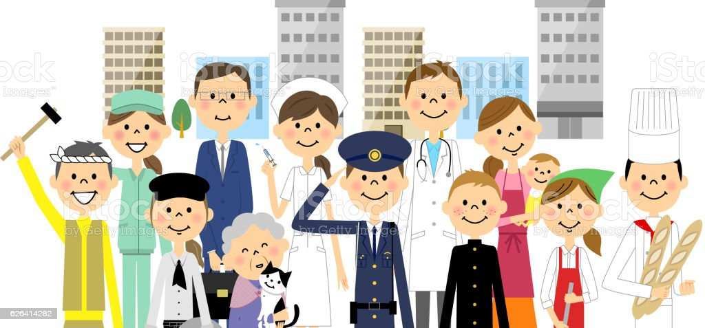 People in the city vector art illustration