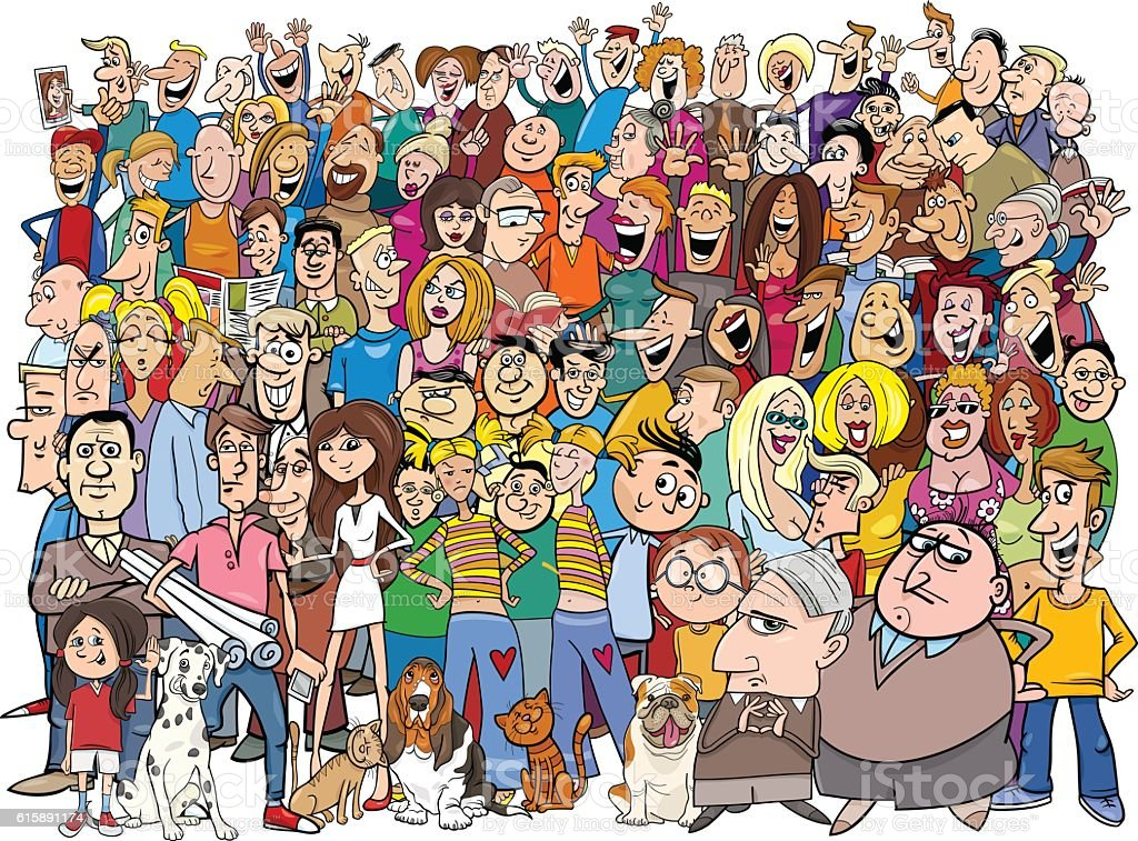 people in the crowd cartoon vector art illustration