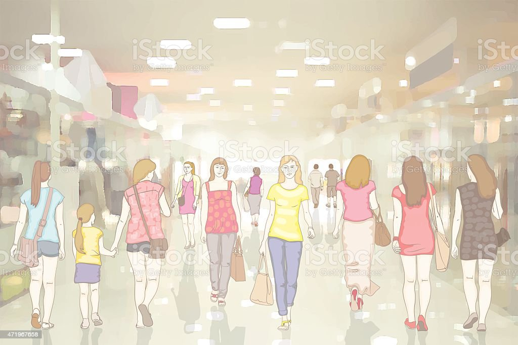 People in the department store vector art illustration