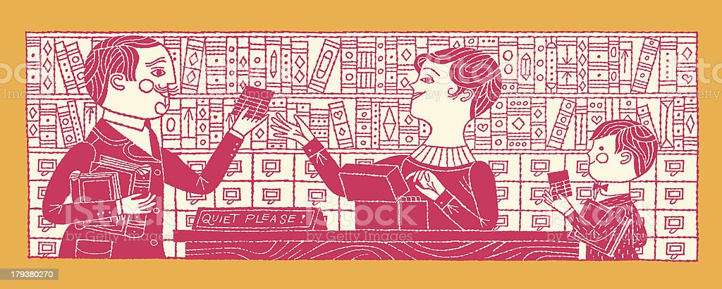 People in The Library royalty-free stock vector art