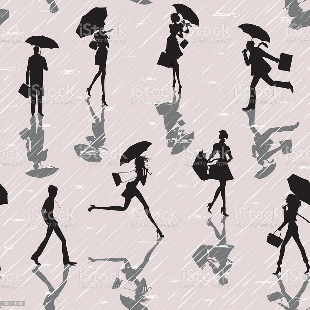 People in the rain royalty-free stock vector art