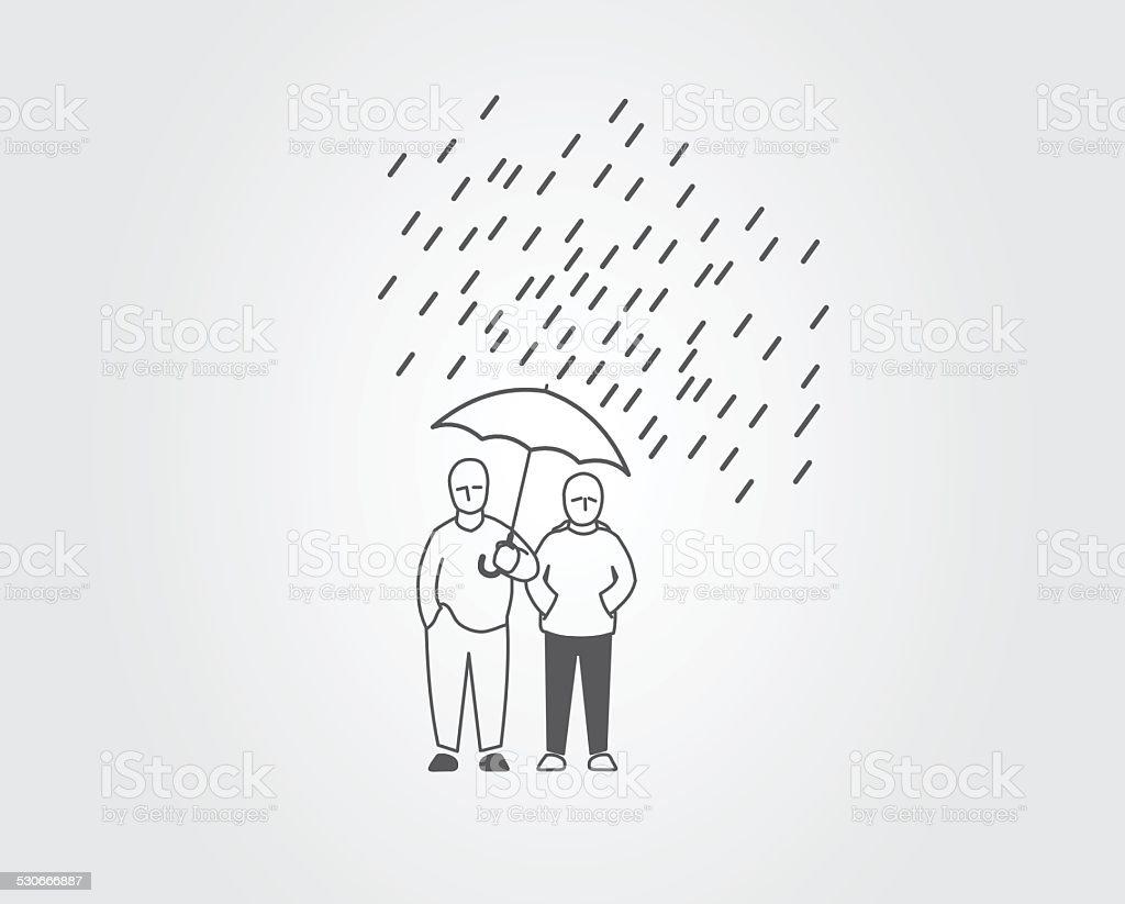 People in the rain vector art illustration
