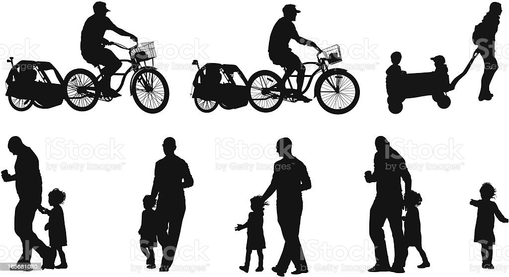 People in the street vector art illustration