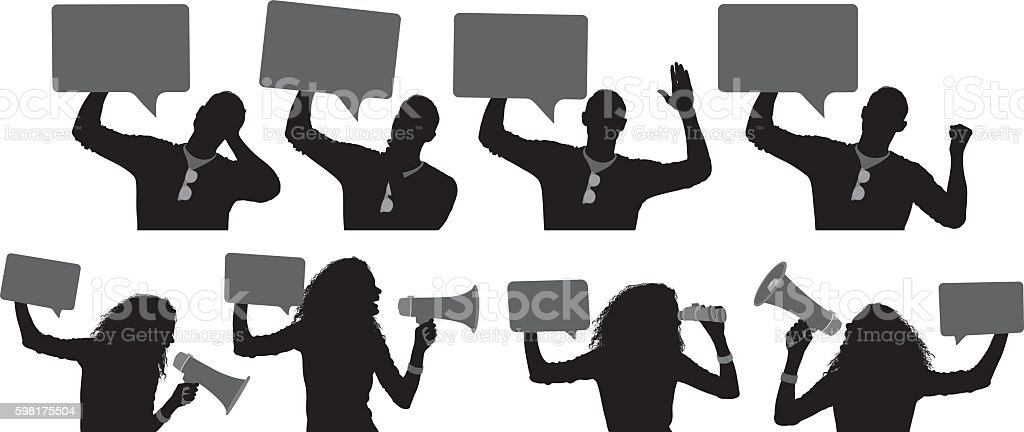 People in various action with speech bubble vector art illustration