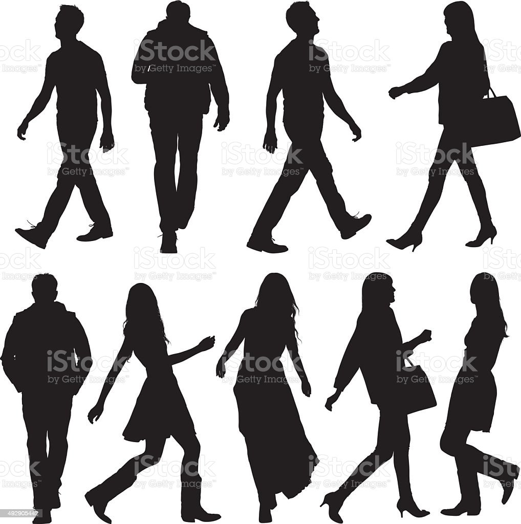 People in various actions and walking vector art illustration
