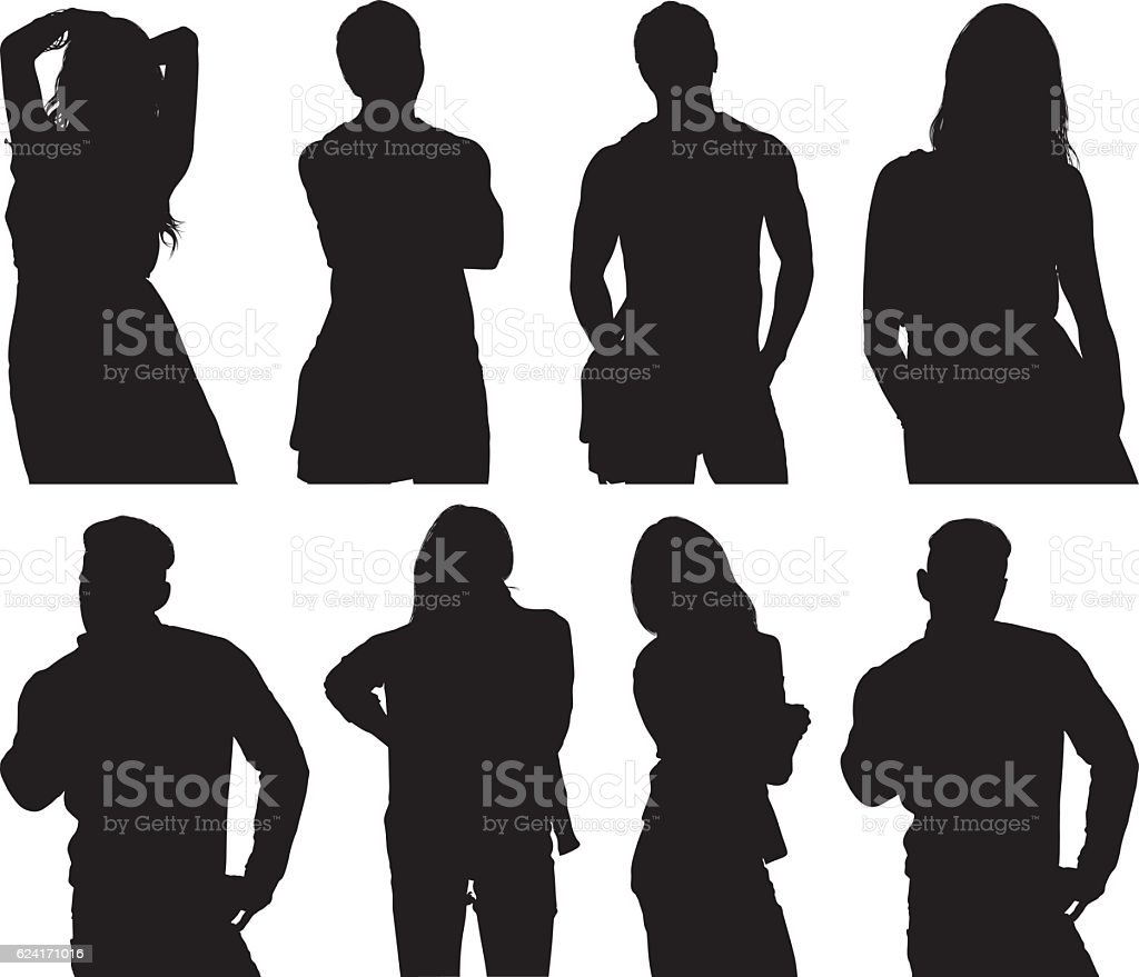 People in various actions vector art illustration
