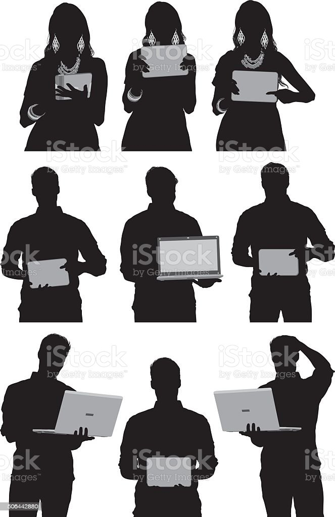 People in various actions with laptop and tablet vector art illustration